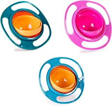 Magic Bowl 360 Degree Rotation Spill Resistant Gyro Bowl with Lid For Toddler Baby Kids Children (Set of 3 (Pink, Blue, Green))