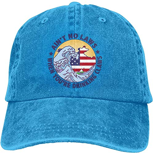 Banderas Ain't No Laws When You're Drinking Gaws Unisex gorra de béisbol ajustable cómodo gorra vitage sombrero azul talla única