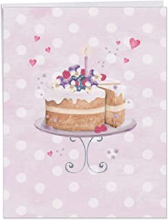 XL Anniversary Card - 'Watercolor Cake' Featuring a Painted Beautiful Celebration Cake and Candle; With Envelope (Extra Large Size 8.5 x 11 Inch) - With Hearts and Love, Happy Anniversary J2984EANG