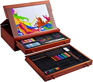 Vigorfun 99 Piece Deluxe Art Set - Art Supplies in Wooden Case with Sketchpad 12 Color Pencils 24 Oil Pastels 2 Brushes 20...