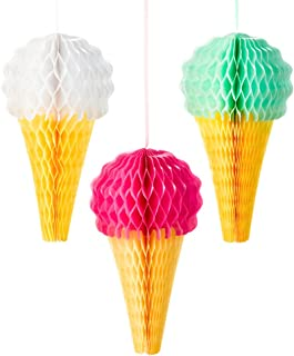 Talking Tables Ice Cream Party Decorations Hanging Honeycomb | Great For Summer Décor And Birthday Party | 3 Pack