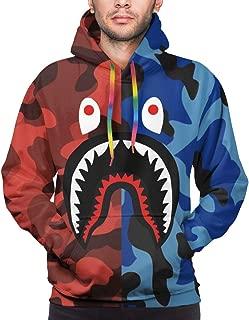 Unisex Hoodies Bape Blood Shark 3D Print Plus Velvet Pullover Hooded Sweatshirts for Mens/Womens