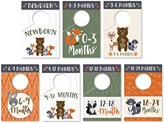 7 Woodland Baby Nursery Closet Organizer Dividers for Girls or Boys Clothing, Grey Age Size Hanger Organization for Kid, Toddler, Infant, Newborn Clothes Must Have, Shower Gift Supplies, 0-24 Months