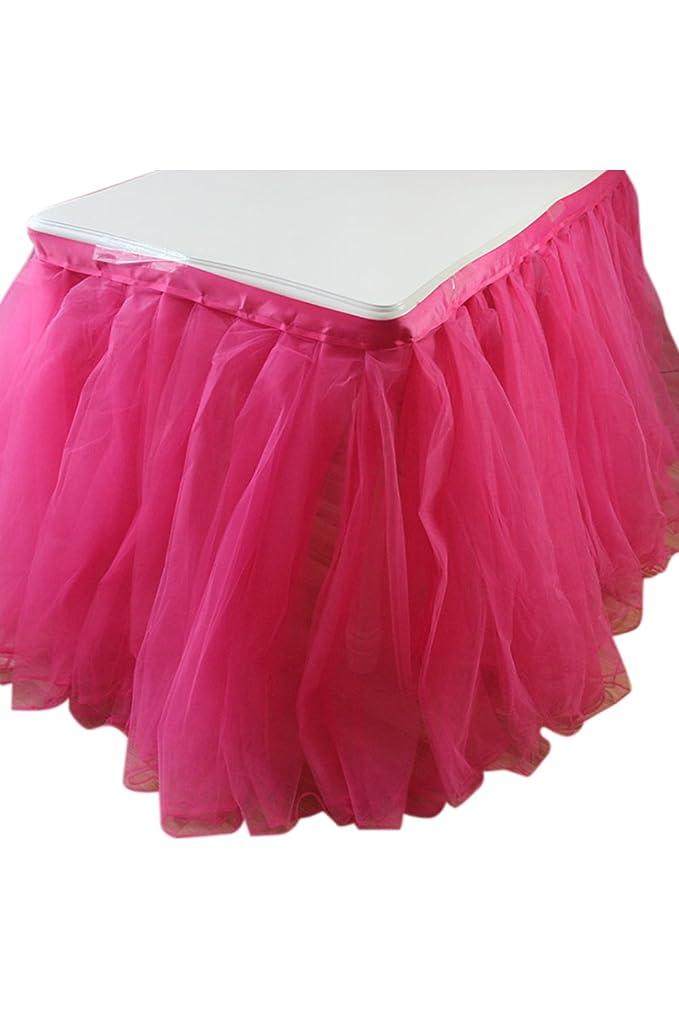 ピン抽象玉Lumierechat チュール素材 チュール テーブルスカート テーブルデコレーション 結婚式 高砂 パーティー a-9856(75cmx3.7m/ピンク)