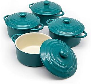 12oz Mini Cocotte, by Kook, Casserole Dish, Ceramic Make, Easy to Lift Lid, Aqua, Set of 4