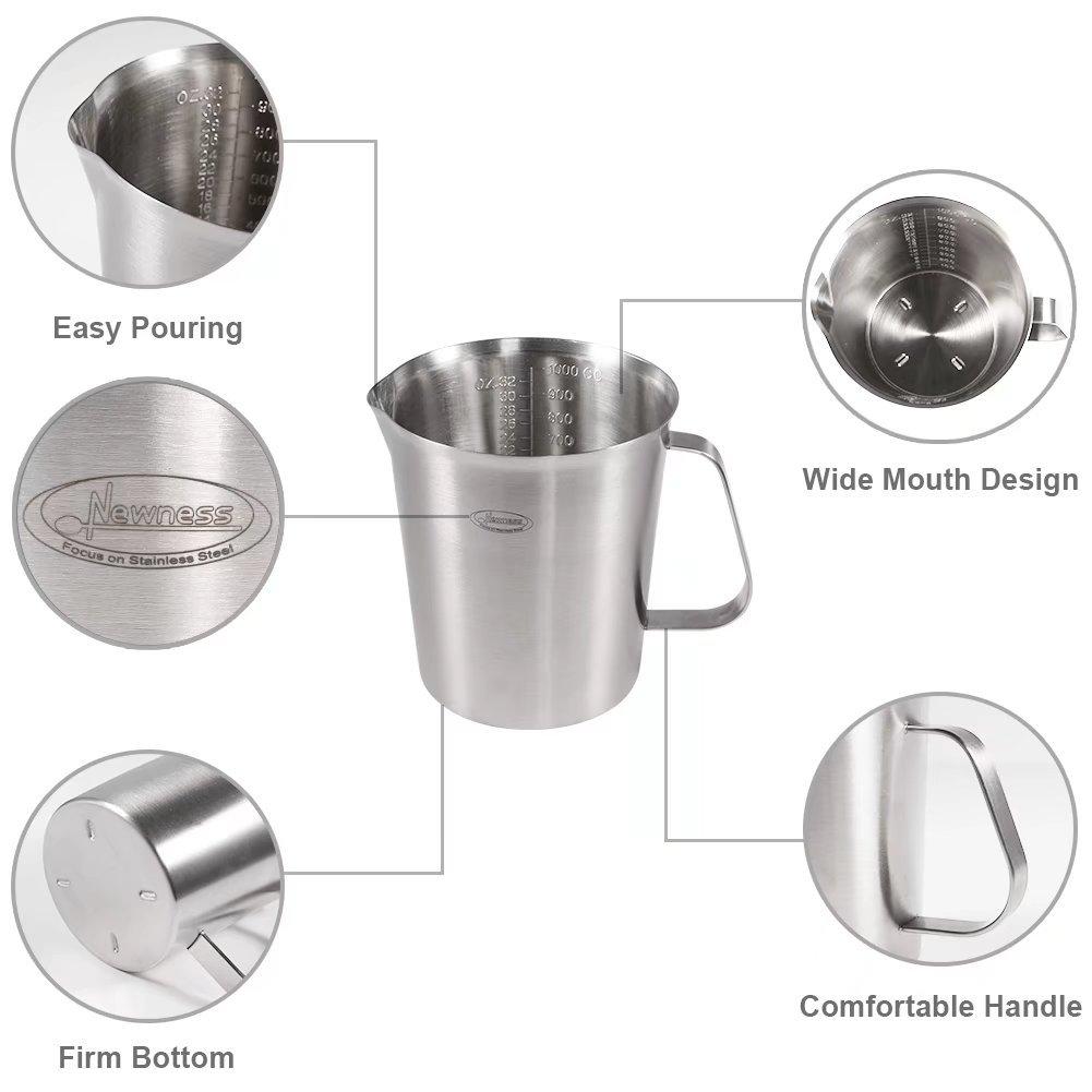 500 ML Argent Pichet /à Caf/é Tasse /à Mesurer en Acier Inoxydable 16 OZ, 2 Cup Mesures, 3 en 1 Newness Lait Pichet Pot /à Lait