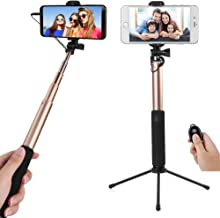 City Sightseeing (Gold) Selfie Stick with Tripod Base for Huawei P20, P20 Pro, Nova 3, Mate 20 Lite, Porsche Design Mate RS, 10, Mate 10, Mate 10 Pro, P10, P10 Plus, Y7, Y6, Y9, Y5, P Smart, Mate 9