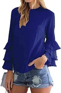 MK988 Women Solid Lightweight Ruffle Chiffon T-Shirt Plus Size Shirt Blouse Top