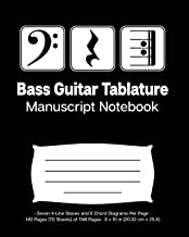 Bass Guitar Tablature Manuscript Notebook: Bass Clef Play Rest Repeat; 140 Pages (70 Sheets) of Blank Bass Guitar TAB Paper; 8