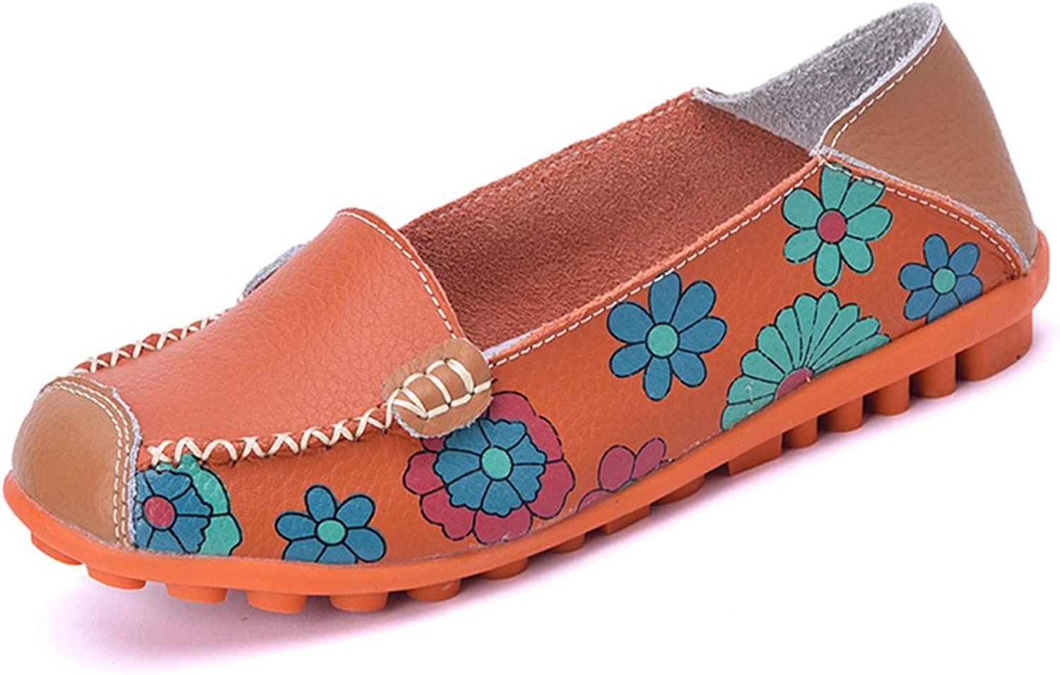 KEESKY Women's Floral Print Driving Loafers Leather Slip-on Flat Casual shoes