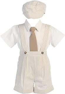 Boy's Cotton Seesucker Suspender Short Set