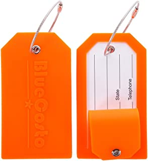 BlueCosto 2x Luggage Label Tags Bag Tag Privacy Cover Steel Loops - Orange