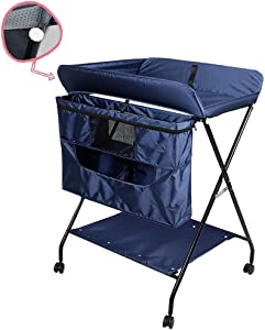 CWJ Small Bed Convenient for Look After Baby Without Bending Over  Baby Diaper Large Space Changing Table Portable Organizer for Infant 0-3 Years Old Save Space Storage Desk