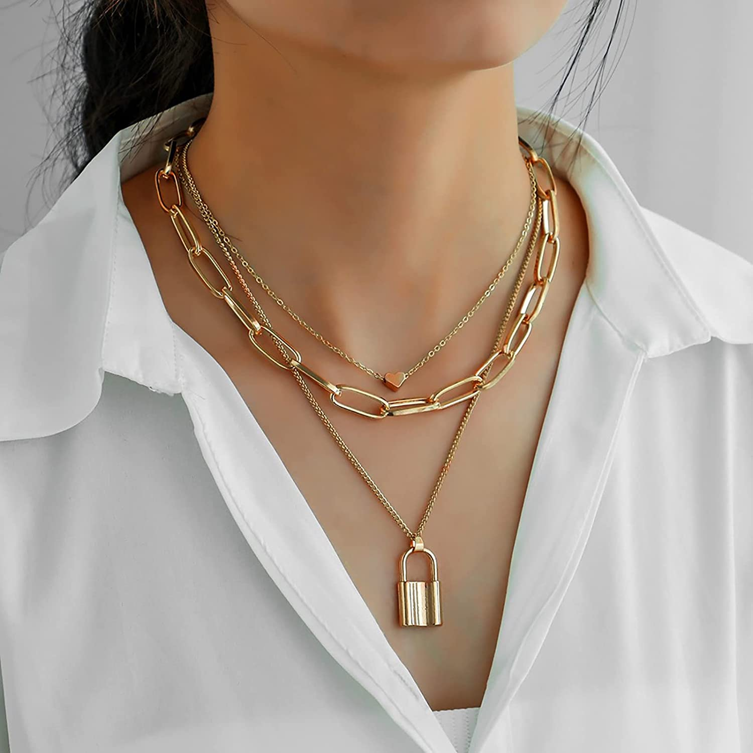 Necklaces for Women Trendy Layered Lock Necklace Lock Chain Necklaces Adjustable Multilayer Chain Y2K Necklace