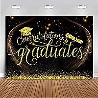 ZPC 2020卒業背景バナーデコレーションカレッジハッピーおめでとう卒業パーティー用品の卒業バナーゴールドブラックファブリックおめでとう背景7X5FT G1L2038