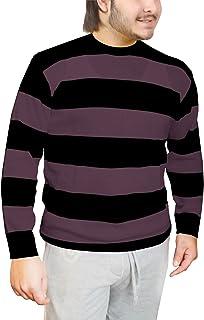 Islander Fashions Mens Black & Purple Striped Knitted Jumper Adults Halloween Fancy Dress Sweater Small-Large