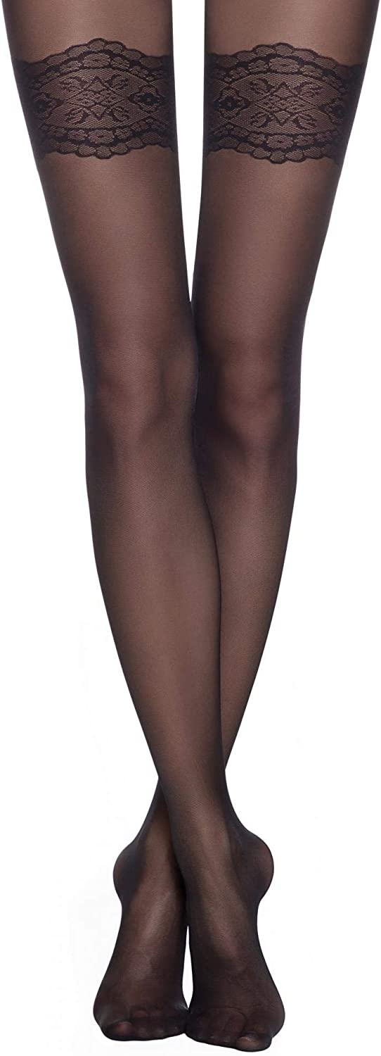 Conte Tights with Lace Stockings Imitation Sheer Pantyhose Perfect 30 Den