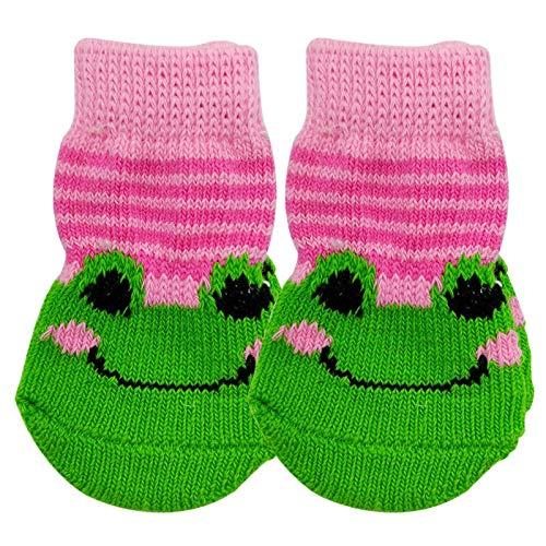 Haustierkatze und Hund Socken warme Herbst- und Winter-rutschfeste Anti-Scratch-Fußabdeckung, geeignet für kleine und mittlere Hunde Teddy Socken Bichon VIP ( Color : Pink Frog K16 , Size : S small )