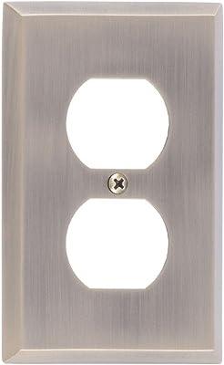 LP-1882 Edmar 4 12 Silver Ridged Metal Vintage Dual Switch Plate