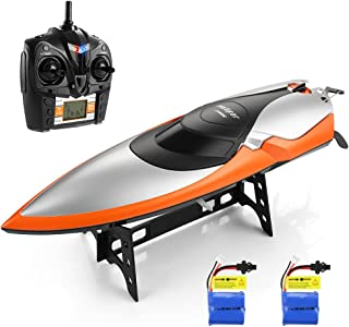 HELIFAR RC Boat, Remote Control Boat Toys for Pools and Lakes, 2.4GHz High Speed Boat 20MPH 180 Degree Flipping RC Racing Boat for Father & Kids, Girls/Boys (2 Batteries Included)