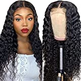 Lace Front Wigs Human Hair Pre Plucked 4x4 Deep Wave Lace Closure Human Hair HD Transparent Lace Front Wigs for Black Women with Baby Hair 150% Density Natural Color (18 inch)