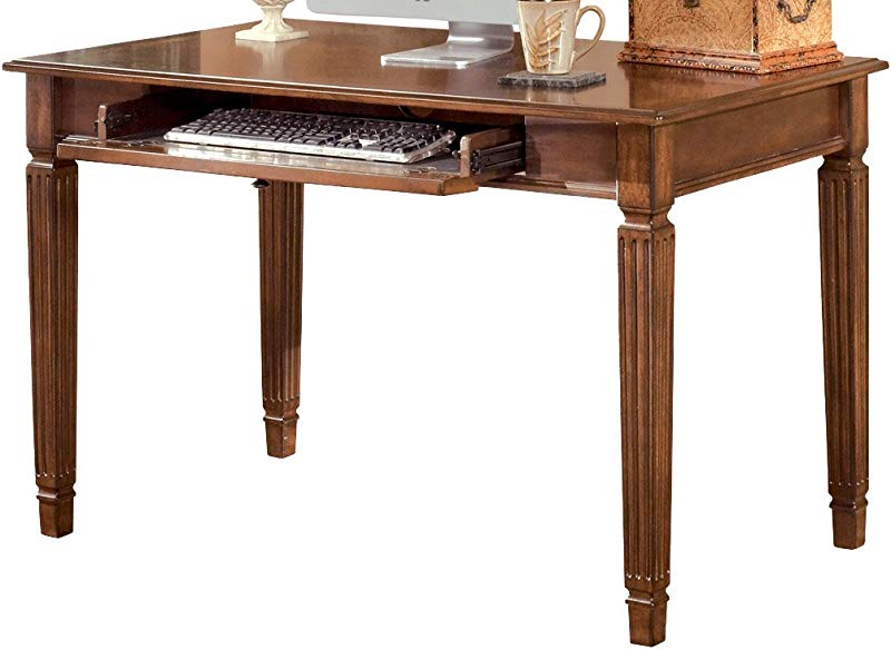 Ashley Furniture Signature Design Hamlyn Small Home Office Desk Drop Down Keyboard Tray Traditional Medium Brown Finish