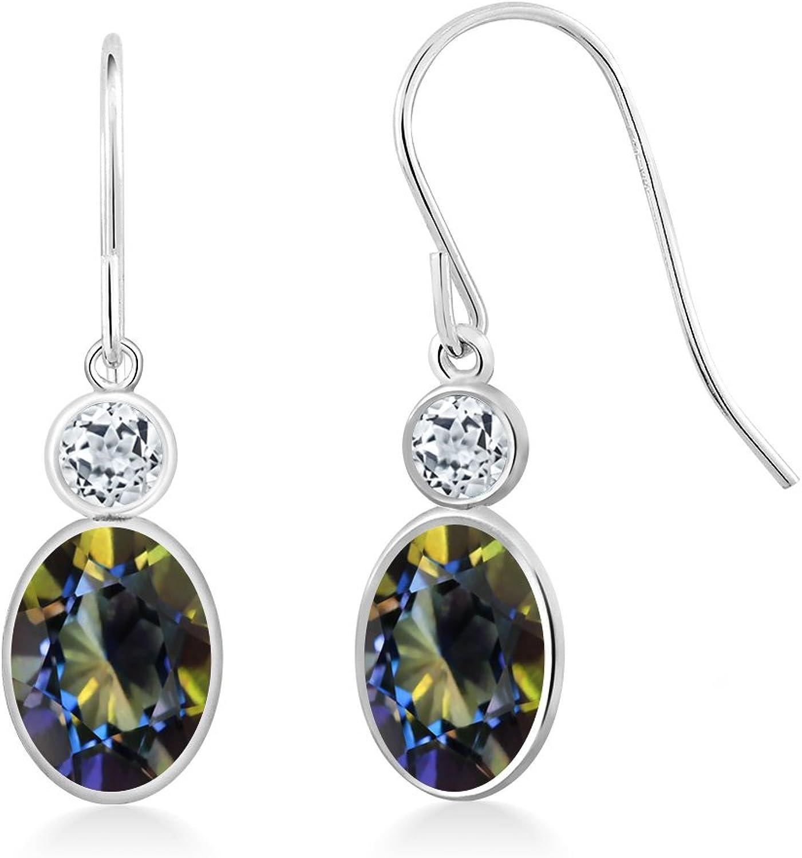 2.18 Ct Oval bluee Mystic Topaz White Topaz 14K White gold Earrings