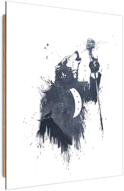 Feeby. Cuadro decoración - 1 Parte - 50x70 cm, Imagen Pintura Impresión Deco Panel, Wolf Song II - Balázs Solti, Oso, ILUSTRACIóN, blancoo Y Negro
