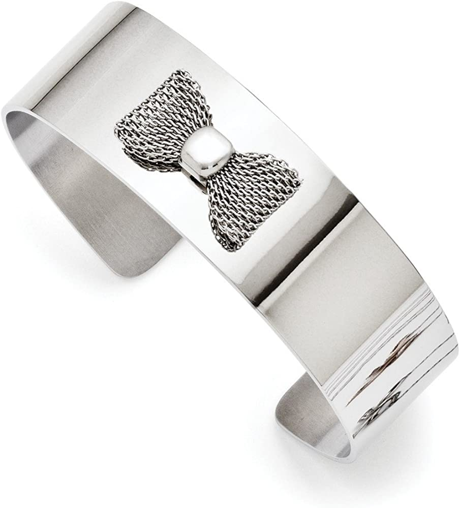 Solid Stainless Steel Mesh Bow Tie Bangle Cuff Bracelet (Width = 20mm)