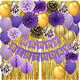 Decoración de cumpleaños para mujer, color morado y dorado con diseño de confeti, globos de papel de lunares, cortinas de flecos de papel de aluminio dorado, para fotos de cumpleaños, color morado...
