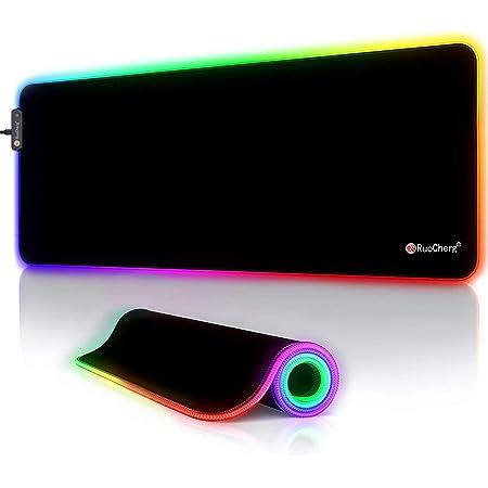 RuoCherg Alfombrillas de Ratón RGB, 12 Modos Led Gaming Mouse Pad con Superficie Impermeable Base de Goma Antideslizante para Gamers, PC y Portátiles