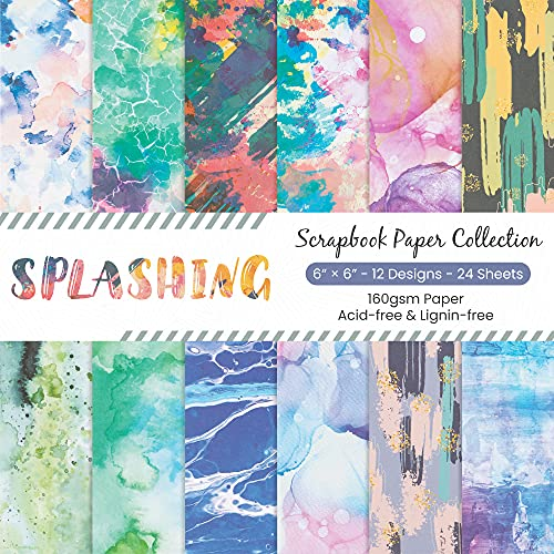 YARUMI Scrapbooking Paper,Pack of 24 Sheets Designer Paper Pad Scrapbook Pages 6x6 Inches Single-Sided Watercolor Texture Patterned Paper Pack,Die Cuts Backgrounds Decorative Art Paper for Card Making