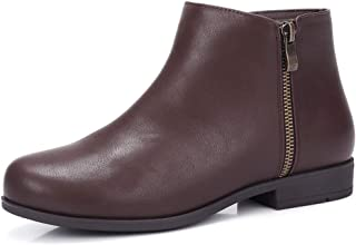 Leather Low Ankle Boots for Women Stacked Low Heel Boots with Side Zipper for Autumn and Early Winter