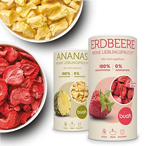 BUAH® Gefriergetrocknete Erdbeeren & Ananas I 100% getrocknete Erdbeeren & getrocknete Ananas Ungezuckert I Getrocknete Früchte Snacks (Vegan Glutenfrei Laktosefrei) 96g & 168g