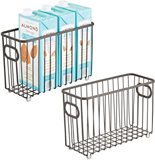 mDesign Metal Farmhouse Kitchen Pantry Food Storage Organizer Basket Bin - Wire Grid Design - for Cabinets, Cupboards, Shelves, Countertops - Holds Potatoes, Onions, Fruit - Small, 2 Pack - Bronze