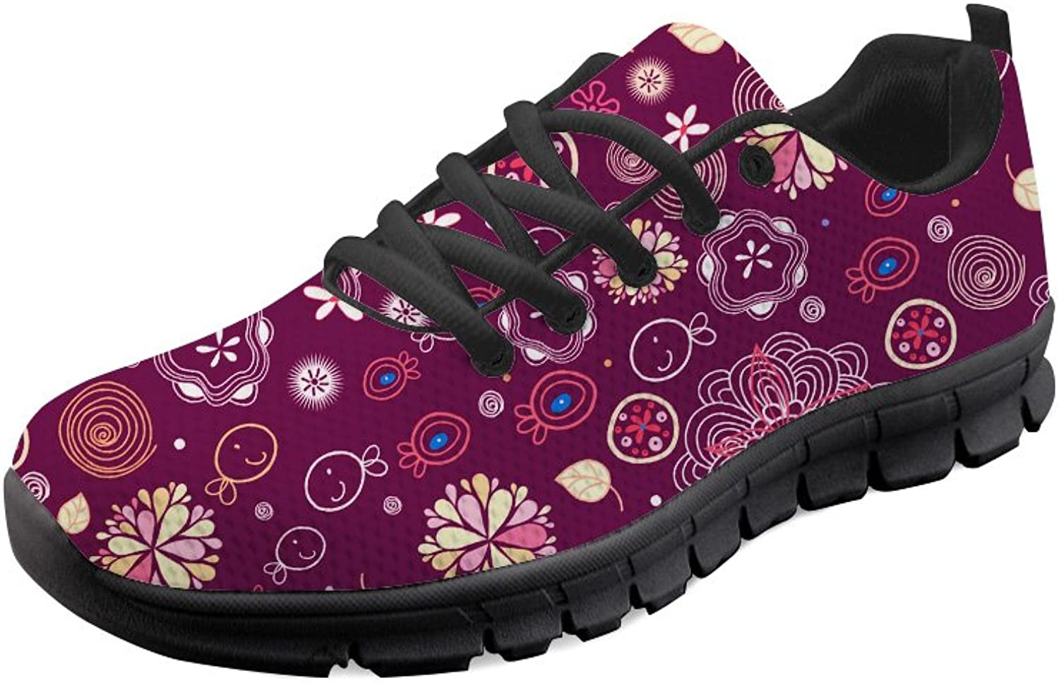 Doginthehole Floral Print Women's Casual Running shoes Flat Soft Mesh Sneakers