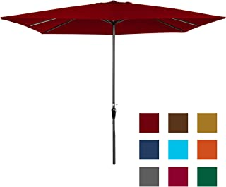 Best Choice Products 8x11ft Rectangular Patio Market Umbrella w/Rust-Resistant Frame, Hand Crank, Fade-Resistant 210G Polyester Fabric, and Wind Vent, Brick Red