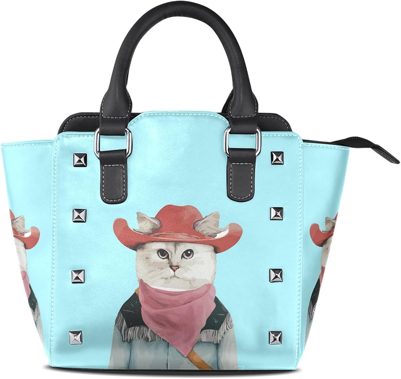 My Little Nest Women's Top Handle Satchel Handbag Cool Cowboy Cat bluee Ladies PU Leather Shoulder Bag Crossbody Bag