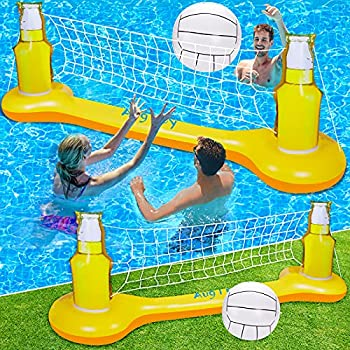 Pool Volleyball Set Pool Games for Adults and FamilyKids Pool Toys for Teens Inflatable Swimming Pool Floats Accessories Summer Outdoor Outside Pool Party Games Volleyball Court  108 ×20 ×33