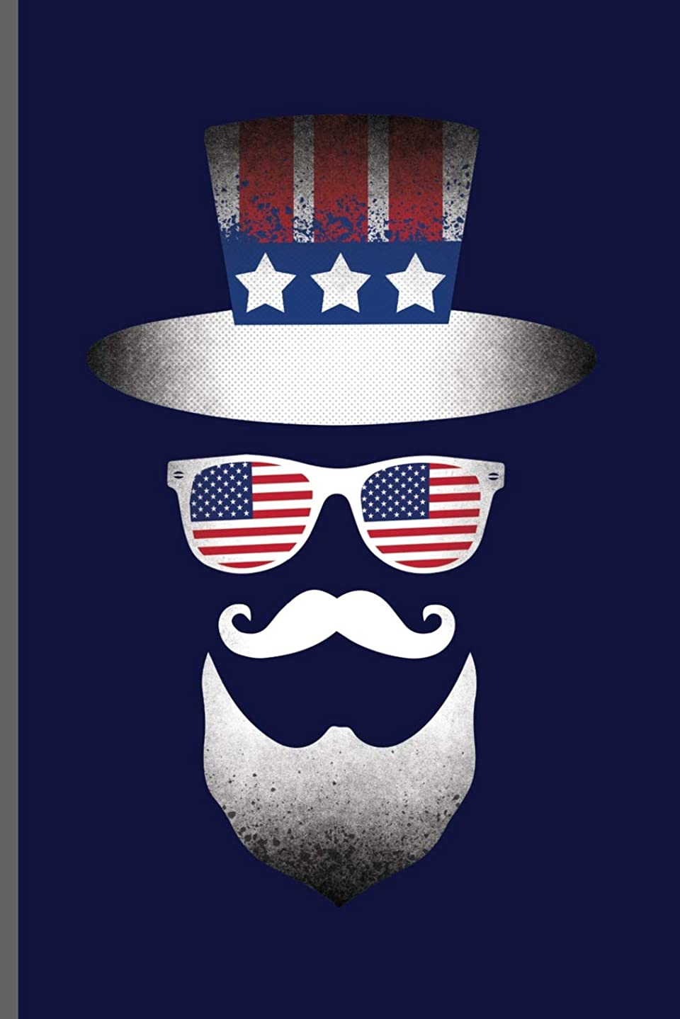 USA Hat Glasses And Mustache: American Flag USA Independence Day  notebooks gift (6