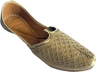 Step n Style Men's Flat Golden Bridal Khussa Shoes Traditional Indian Leather Loafer Punjabi Jutti