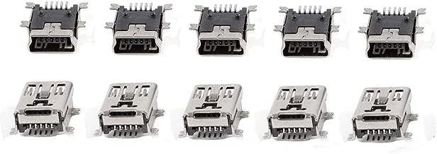 QMseller 10 Pcs Mini USB Type B Female Port 5-Pin 180 Degree SMD SMT PCB Jack Socket