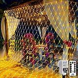 200 LED Lichternetz 3 x 2 m warmweiß Lichterkette Netz mit Fernbedienung Timer 8 Modi Innen und Außen Lichtketten für Party, Geburstag, Weihnachten, Halloween