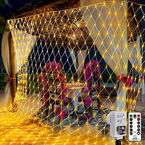 Rete di Luci 200 LED, Catene Luminose 3 x 2 m luminosa bianca calda con timer telecomando 8 modalità catene luminose per interni ed esterni per feste, compleanni, matrimoni, Natale, Halloween