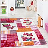 Paco Home Alfombra para Habitación Infantil con Motivo De Zorros Colorida En Rosa Crema, tamaño:80x150 cm
