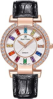 Royal Crown Womens Crystal-Accented Fashion Leather Rose Gold-Tone Bangle Watch Jewelry Bracelet