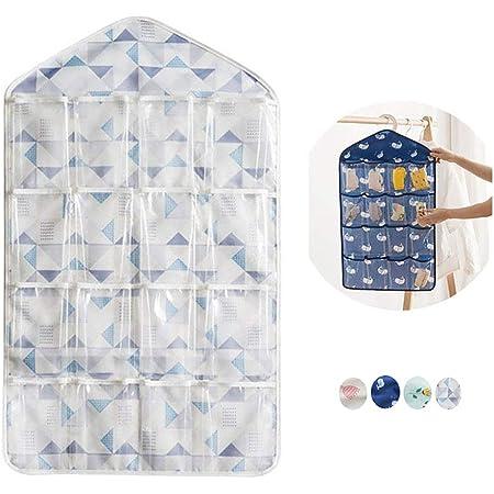 whatUneed, Portaoggetti con 16tasche trasparenti da appendere, organizer per armadio, adatto a biancheria intima calzini, gioielli, reggiseni Light Blue