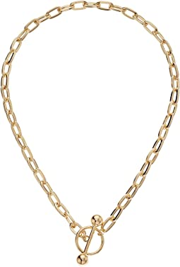 Rolo Ring Chain Bar Necklace
