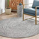 nuLOOM Lefebvre Braided Indoor/Outdoor Area Rug, 4' Round, Light Grey