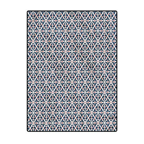 Geometric Floor Carpet Yoga Mat for Layered Door Mats Porch/Kitchen/Farmhouse Ancient Drawing Style 6.5 x 9.8 Ft